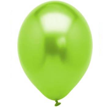 Metallic lime green 28cm latex balloons