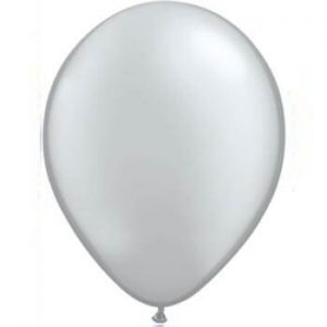Metallic Silver Latex 28cm Balloons