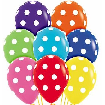 Polka Dots mix 28cm latex balloons
