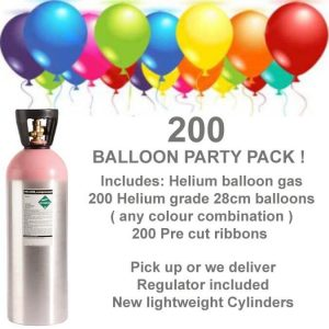 200 Helium Balloons Gas Kit D.I.Y