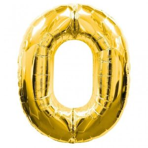 GOLD NUMBER 0 FOIL BALLOON