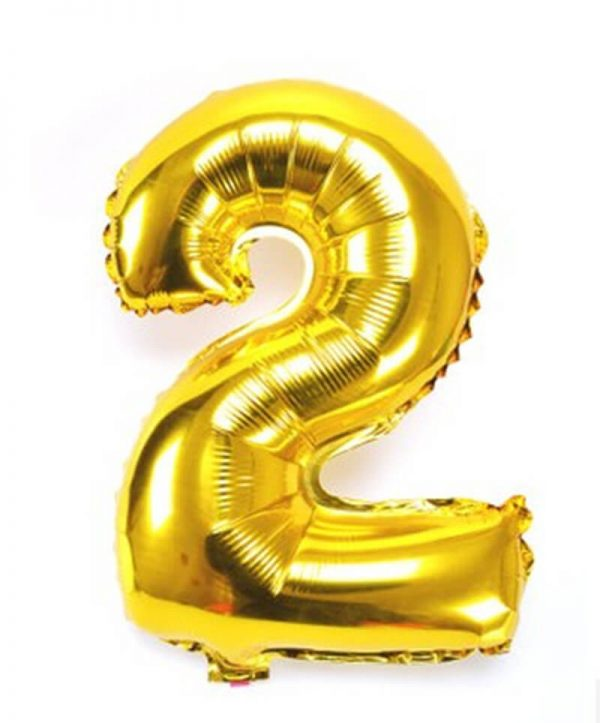GOLD NUMBER 2 FOIL BALLOON