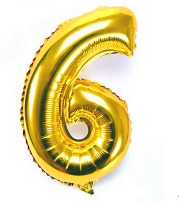 Foil Balloon Number 6 Gold