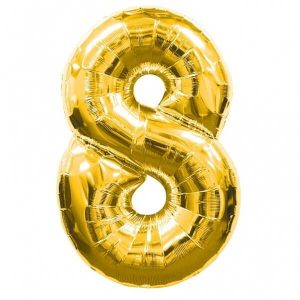 GOLD NUMBER 8 FOIL BALLOON