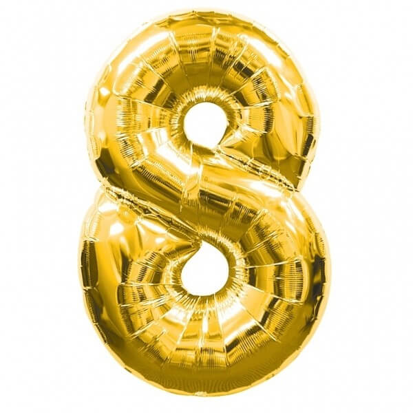Foil Balloon Number 8 Gold