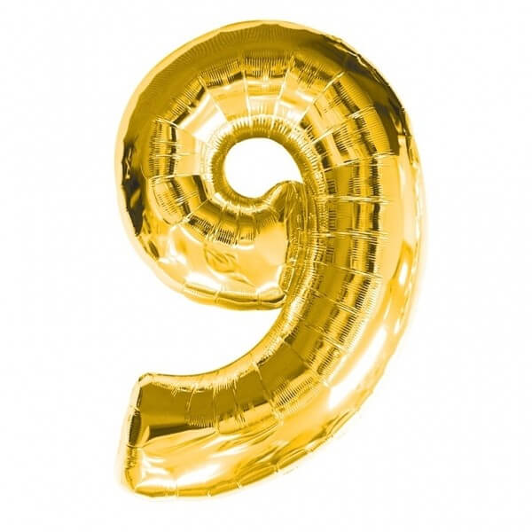 Foil Balloon Number 9 Gold Helium Filled And Attached To A