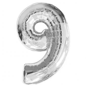 Foil Balloon Number 9 Silver