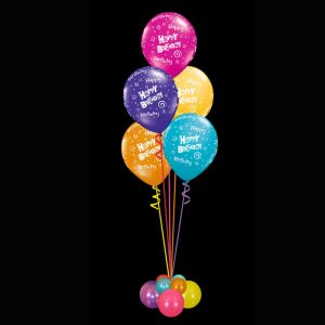 Bouquet of 5 helium happy birthday balloons