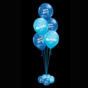 Bouquet of 5 helium happy birthday balloons blue