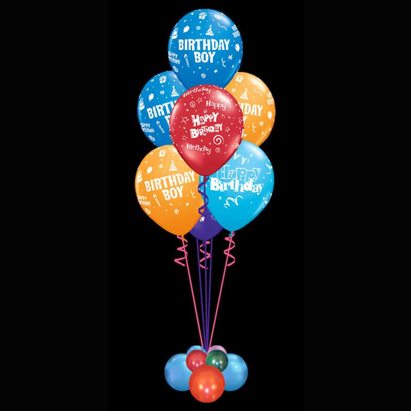 Bouquet of 7 birthday boy helium balloons