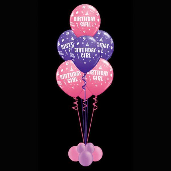 Bouquet of 7 birthday girl helium balloons