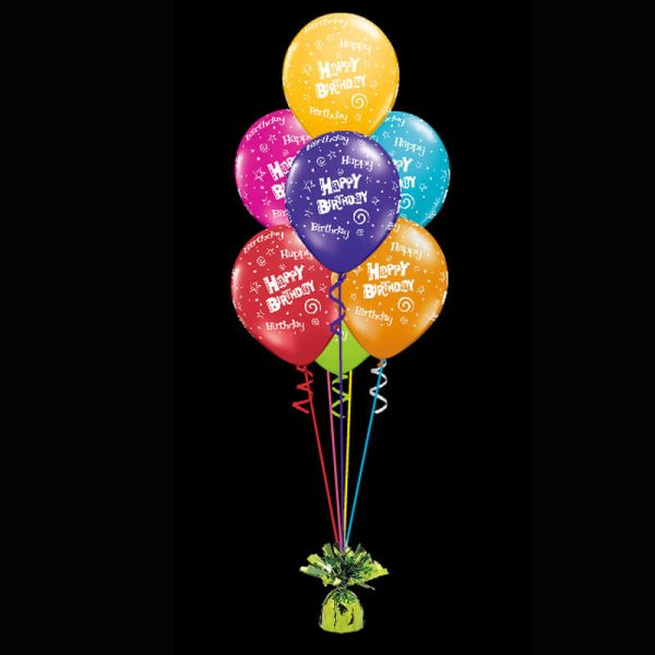Bouquet of 7 happy birthday helium balloons