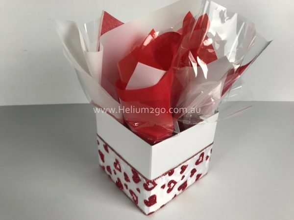 Hearts Red and White Posy Box