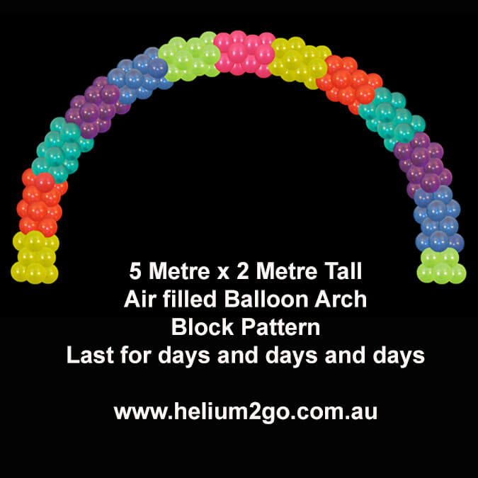 Block pattern air filled balloon arch
