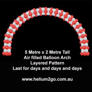 Air filled balloon arch layered pattern