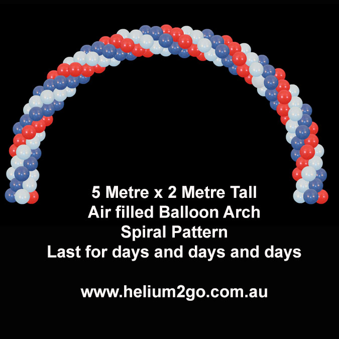 Spiral pattern air filled balloon arch