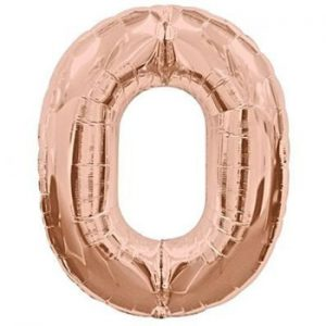 rose gold foil balloon number 0