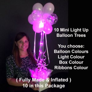 10 Mini light up balloon trees