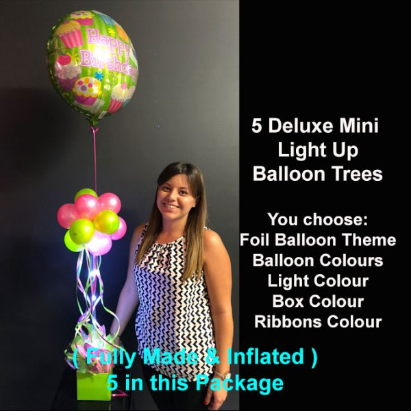 5 Deluxe Mini light up balloon trees