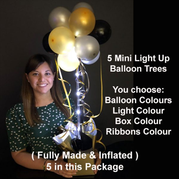 5 Mini light up balloon trees
