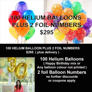 100 HELIUM BALLOON AND FOIL NUMBERS SPECIAL