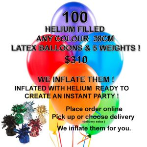 100 Helium Balloons & 10 weights Inflated Special