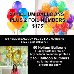 50 HELIUM BALLOON AND FOIL NUMBERS SPECIAL