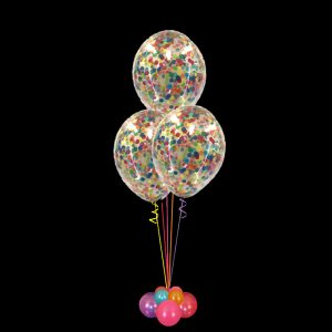 Balloon Bouquet of 3 large clear confetti balloons, weighted, any colour
