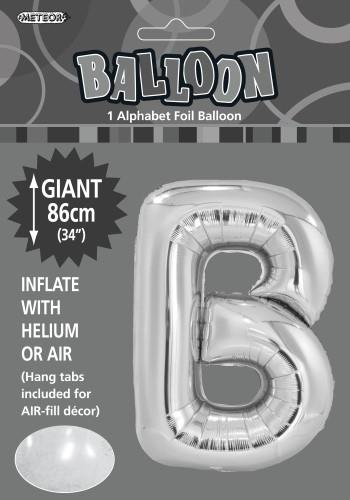 B Silver foil balloon letter 86cm helium filled
