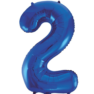 Blue 2 86cm foil balloon number
