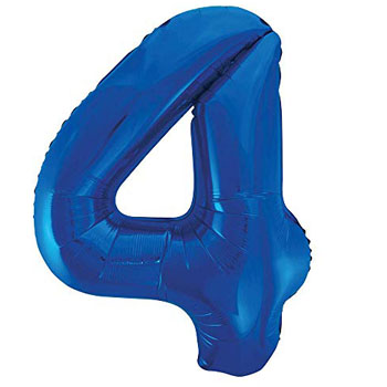 Blue 4 86cm foil balloon number