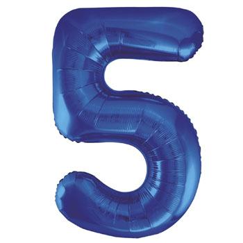 Blue 5 86cm foil balloon number