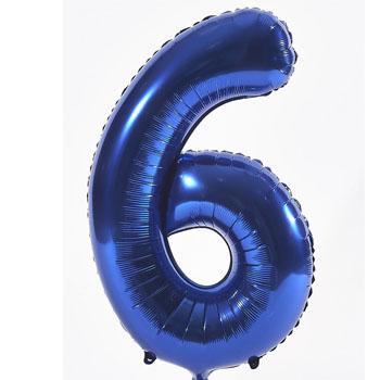 Blue 6 86cm foil balloon number