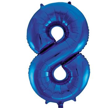 Blue 8 86cm foil balloon number