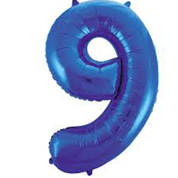 Blue 9 86cm foil balloon number