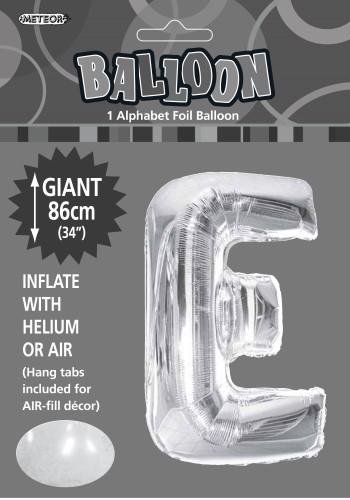 E Foil silver balloon letter 86cm helium filled