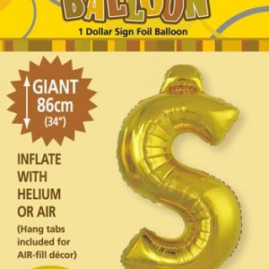 Gold Foil $ 86cm balloon letter helium filled