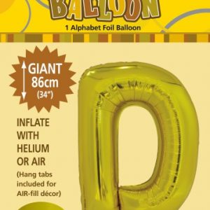 Gold D 86cm foil balloon letter helium filled