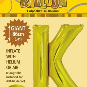 K Gold foil ballon letter 86cm helium filled