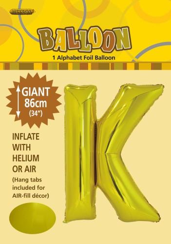 K Gold foil ballon letter 86cm helium filled