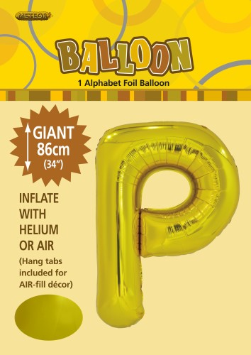 P Gold foil balloon letter 86cm helium filled