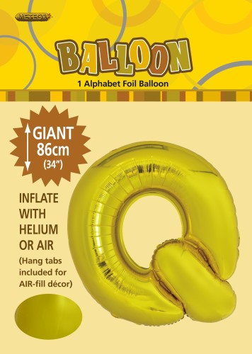 q gold foil balloon letter 86cm helium filled