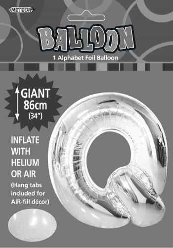 Q Silver foil balloon letter 86cm helium filled