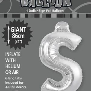 $ Silver foil balloon letter 86cm helium filled