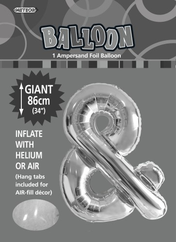 & SILVER FOIL BALLOON LETTER 86CM HELIUM FILLED