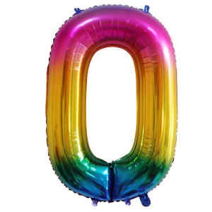 RAINBOW 0 86cm BALLOON NUMBER