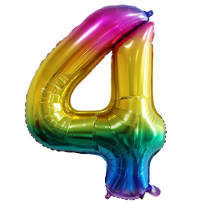 RAINBOW 4 86cm BALLOON NUMBER