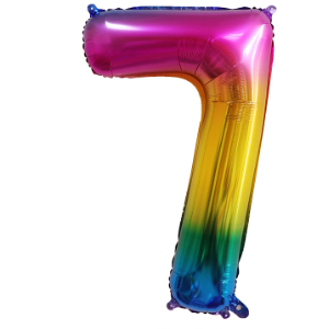 RAINBOW 7 86cm BALLOON NUMBER