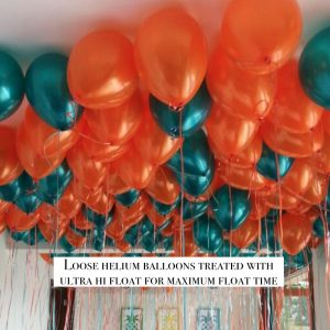 Loose helium balloons gold black white
